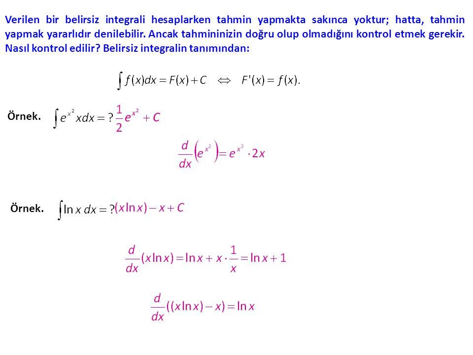 Verilen bir belirsiz integrali hesaplarken tahmin yapmakta sakınca yoktur; hatta, tahmin yapmak yararlıdır denilebilir. Ancak tahmininizin doğru olup olmadığını kontrol etmek gerekir. Nasıl kontrol edilir Belirsiz integralin tanımından: