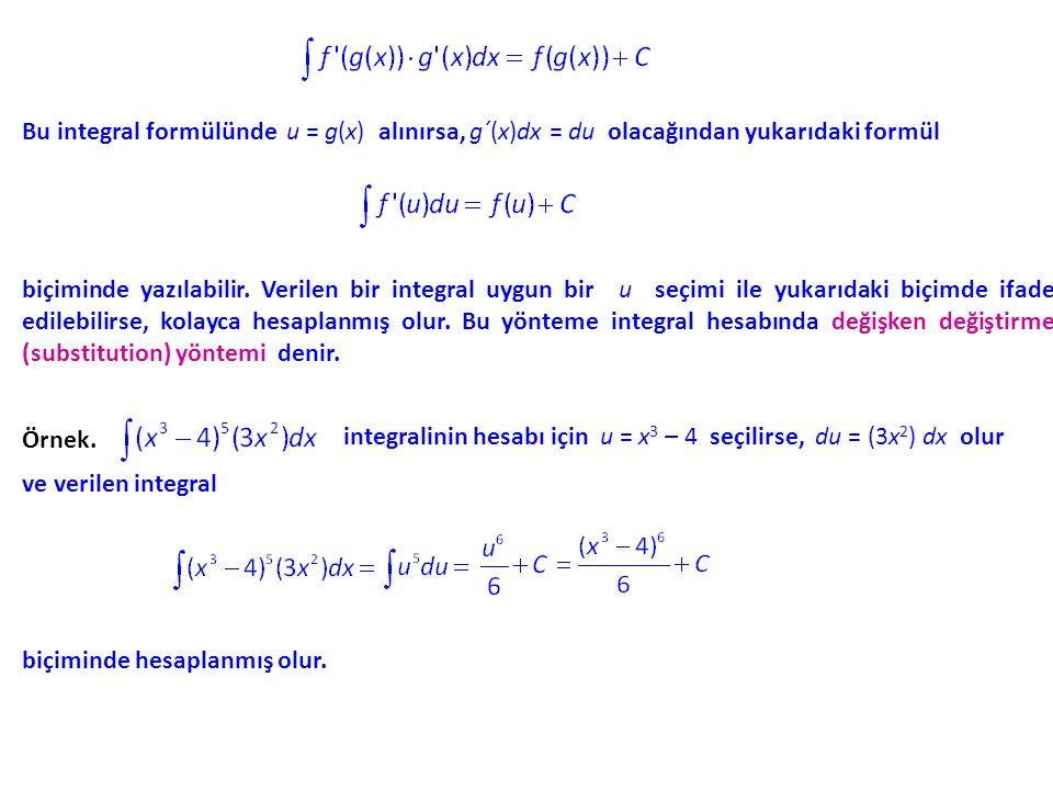 Bu integral formülünde u = g(x) alınırsa, g´(x)dx = du olacağından yukarıdaki formül