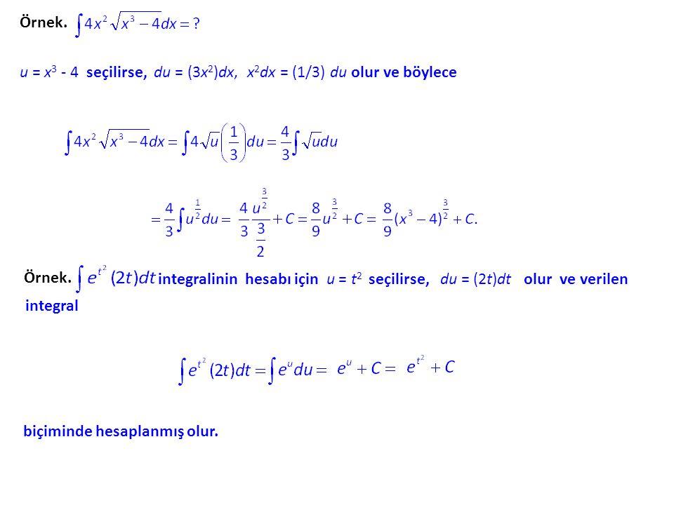 Örnek. u = x3 - 4 seçilirse, du = (3x2)dx, x2dx = (1/3) du olur ve böylece. Örnek.