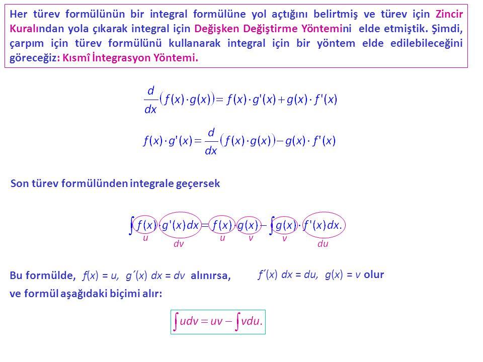 Son türev formülünden integrale geçersek