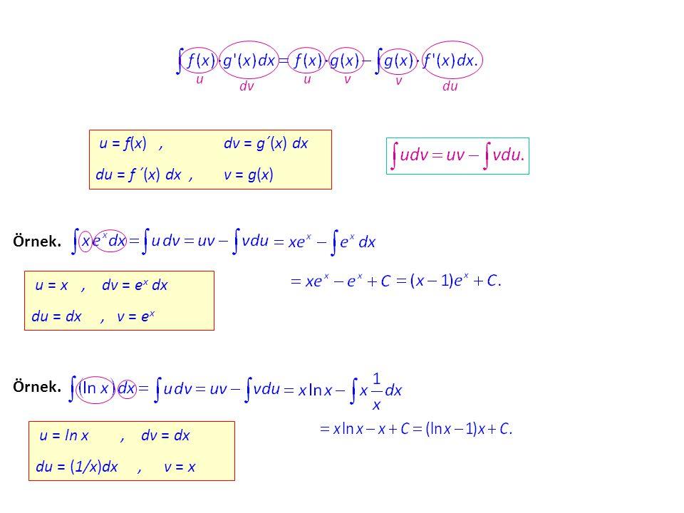 u = f(x) , dv = g´(x) dx du = f ´(x) dx , v = g(x) Örnek.
