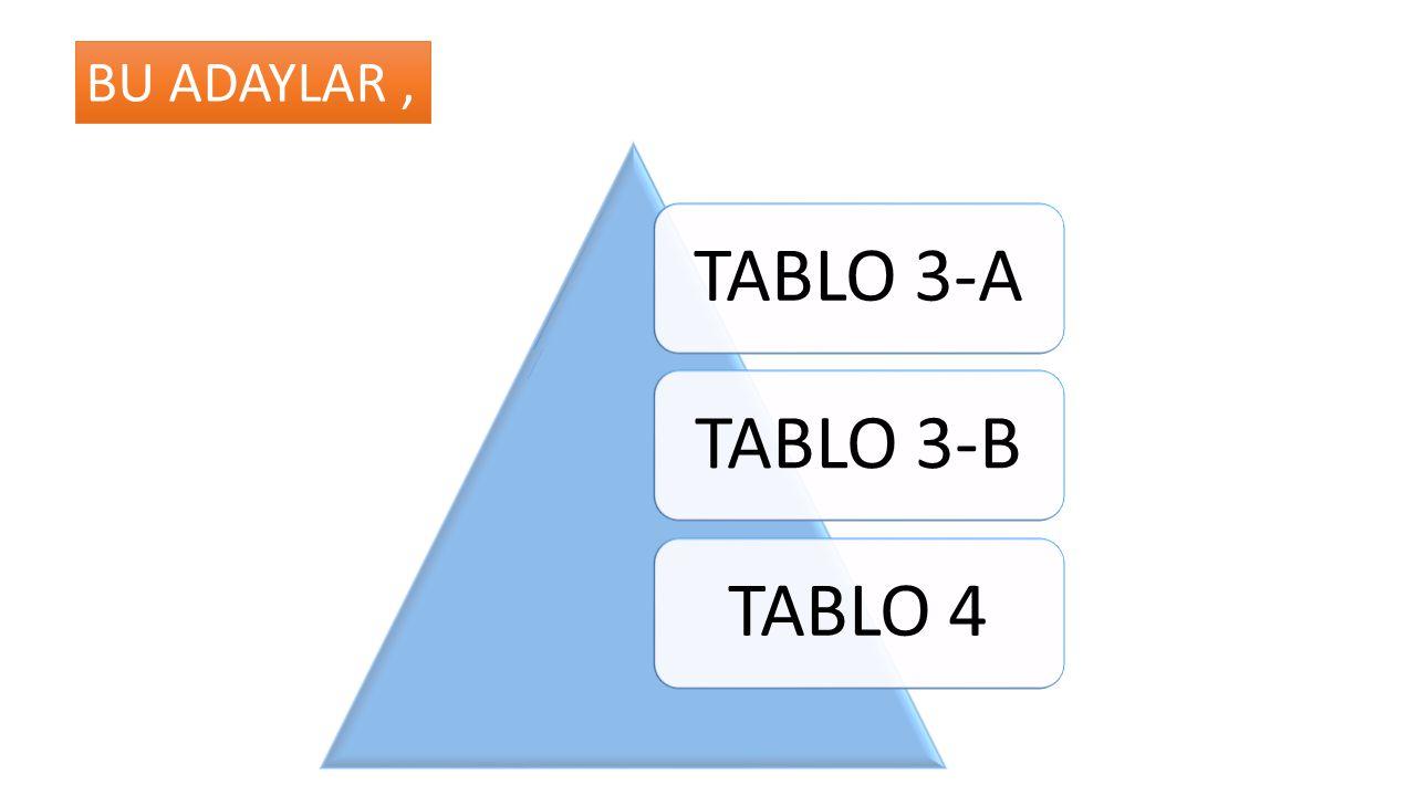 BU ADAYLAR , TABLO 3-A TABLO 3-B TABLO 4