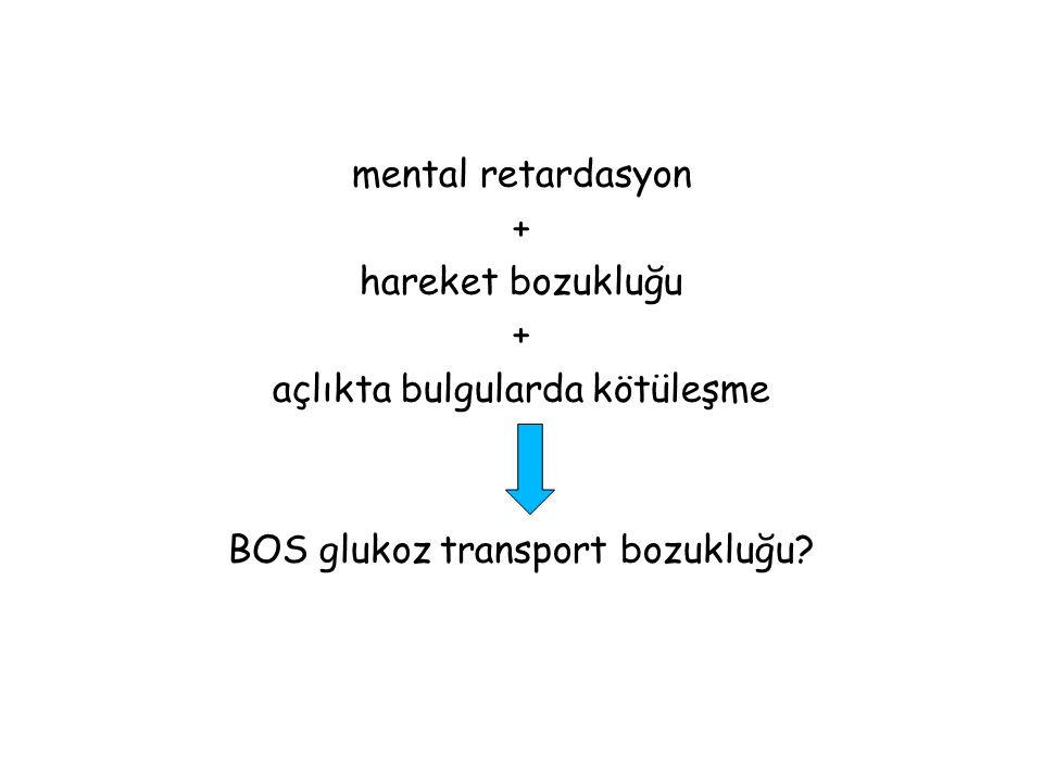 mental retardasyon + hareket bozukluğu açlıkta bulgularda kötüleşme BOS glukoz transport bozukluğu