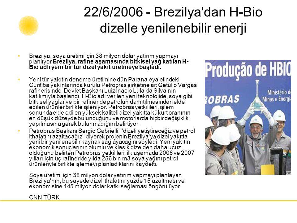 22/6/2006 - Brezilya dan H-Bio dizelle yenilenebilir enerji