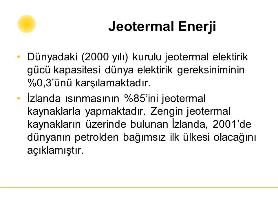Jeotermal Enerji Dünyadaki (2000 yılı) kurulu jeotermal elektirik gücü kapasitesi dünya elektirik gereksiniminin %0,3'ünü karşılamaktadır.