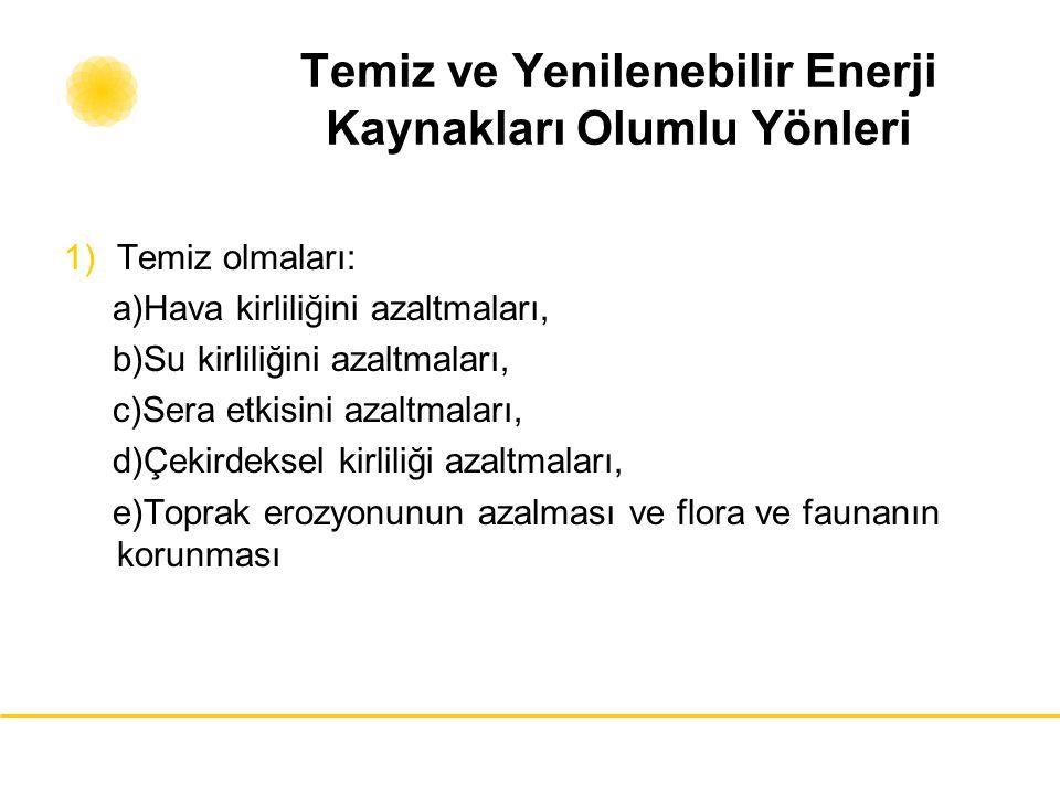 Temiz ve Yenilenebilir Enerji Kaynakları Olumlu Yönleri