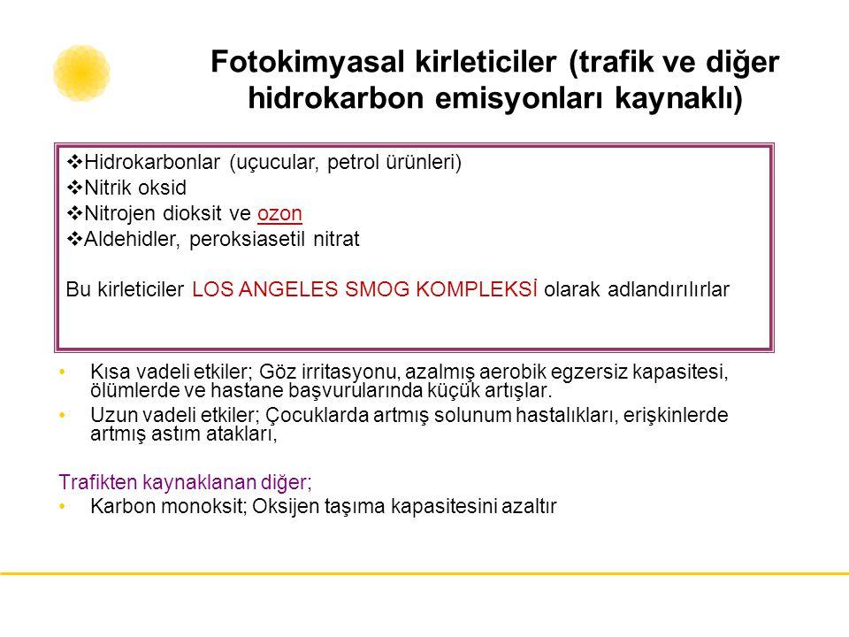 Fotokimyasal kirleticiler (trafik ve diğer hidrokarbon emisyonları kaynaklı)