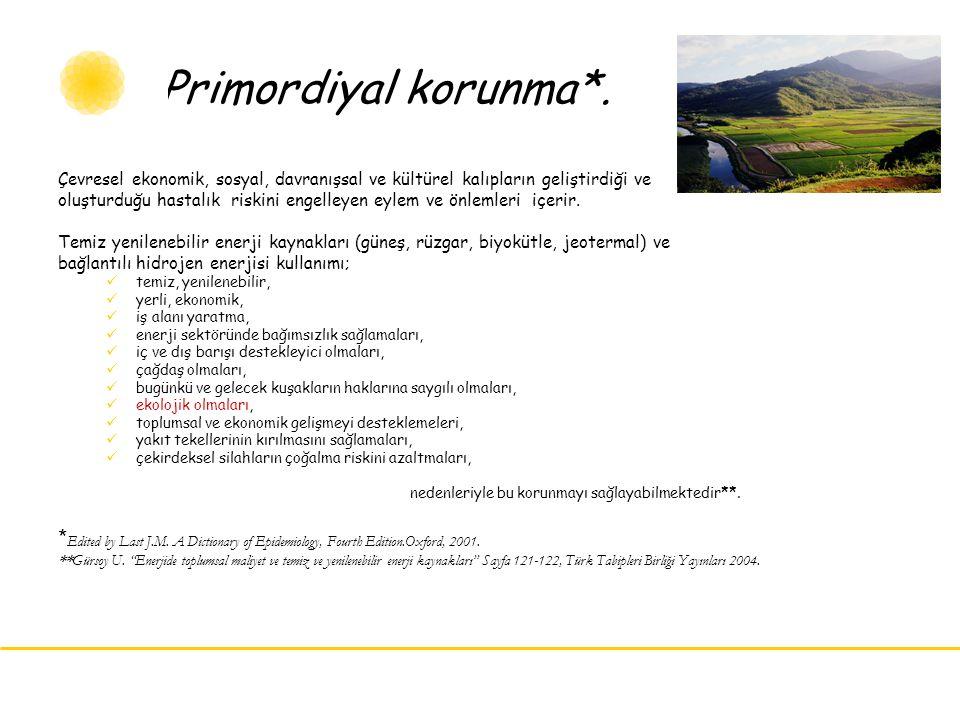 Primordiyal korunma*. Çevresel ekonomik, sosyal, davranışsal ve kültürel kalıpların geliştirdiği ve.