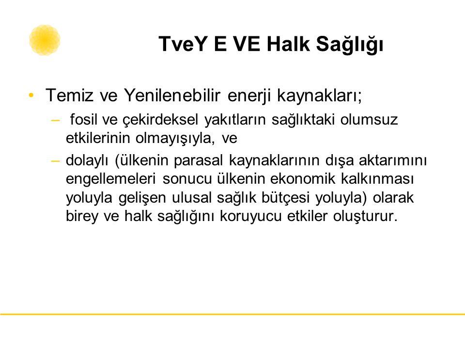 TveY E VE Halk Sağlığı Temiz ve Yenilenebilir enerji kaynakları;