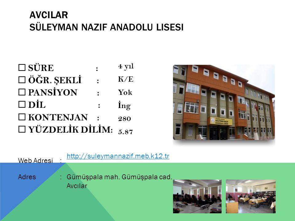 AVCILAR Süleyman Nazif Anadolu Lisesi