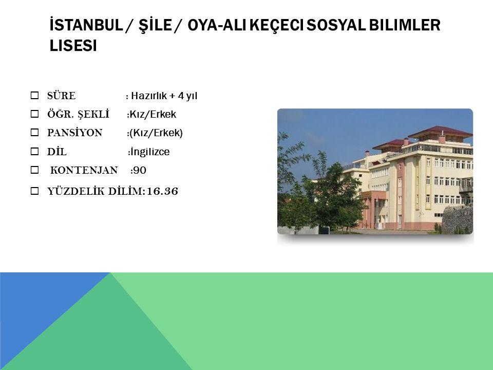 İSTANBUL / ŞİLE / Oya-Ali Keçeci Sosyal Bilimler Lisesi