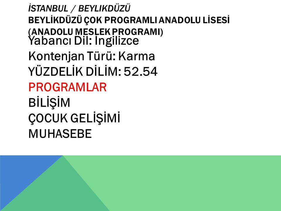 İstanbul / Beylikdüzü BEYLİKDÜZÜ ÇOK PROGRAMLI ANADOLU LİSESİ (ANADOLU MESLEK PROGRAMI)