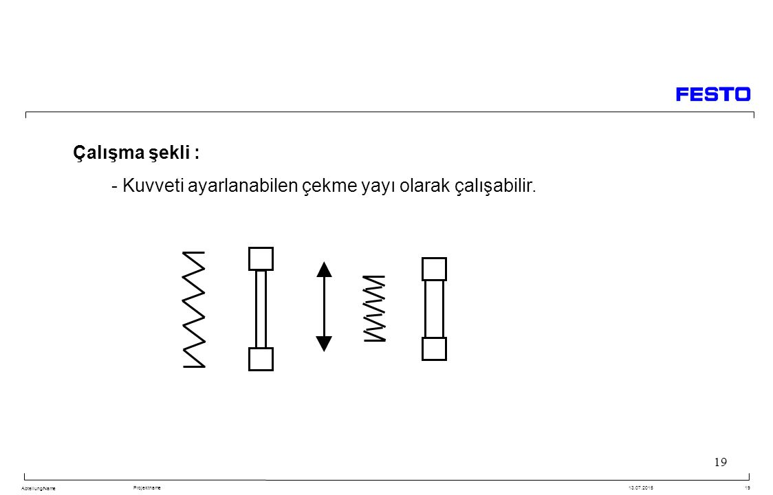 Çalışma şekli : - Kuvveti ayarlanabilen çekme yayı olarak çalışabilir.