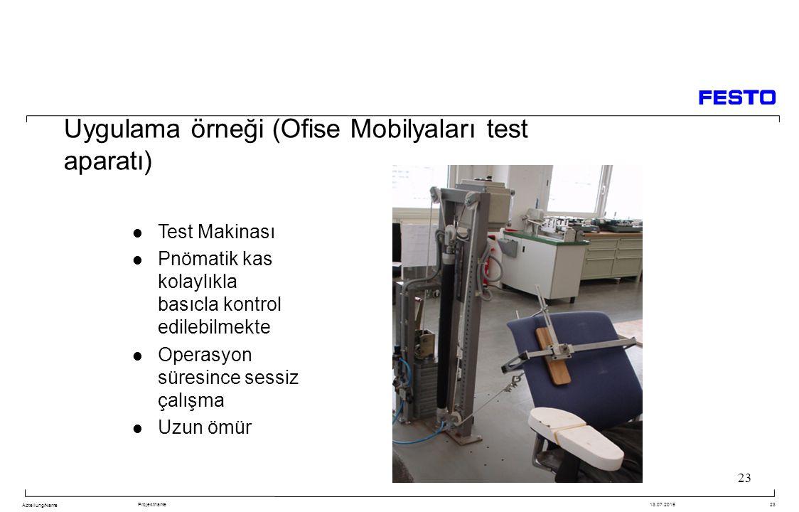 Uygulama örneği (Ofise Mobilyaları test aparatı)
