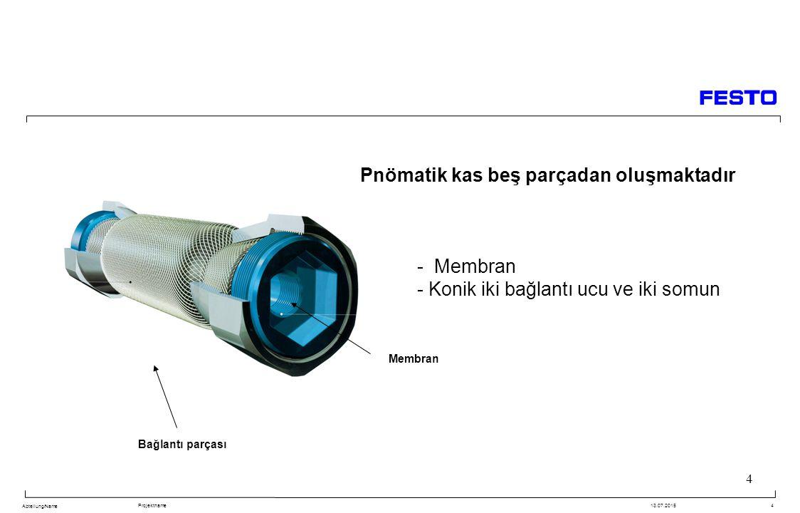 Pnömatik kas beş parçadan oluşmaktadır