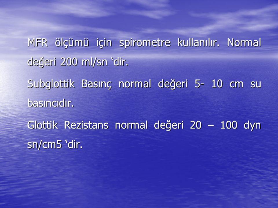 MFR ölçümü için spirometre kullanılır. Normal değeri 200 ml/sn 'dir.