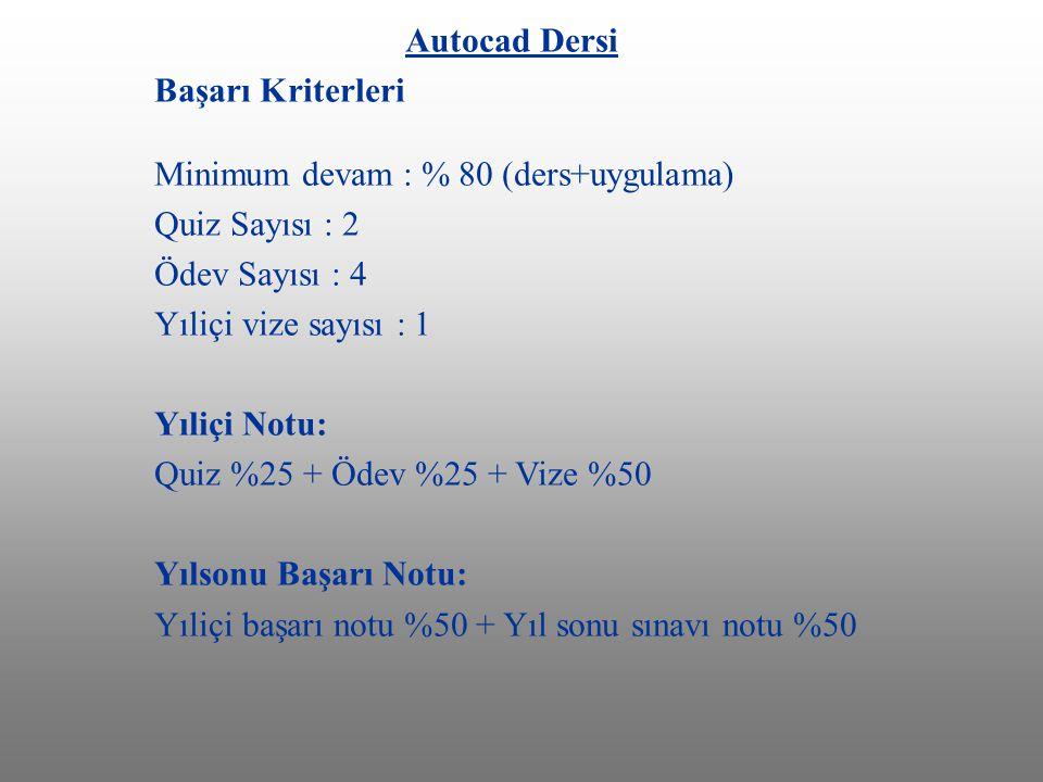 Autocad Dersi Başarı Kriterleri Minimum devam : % 80 (ders+uygulama) Quiz Sayısı : 2 Ödev Sayısı : 4.