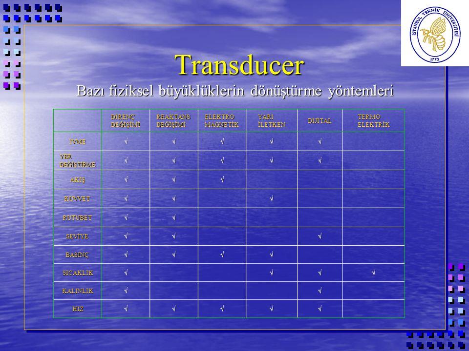Transducer Bazı fiziksel büyüklüklerin dönüştürme yöntemleri