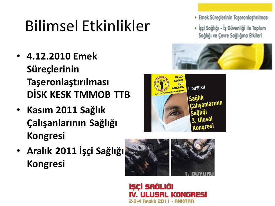 Bilimsel Etkinlikler 4.12.2010 Emek Süreçlerinin Taşeronlaştırılması DİSK KESK TMMOB TTB. Kasım 2011 Sağlık Çalışanlarının Sağlığı Kongresi.