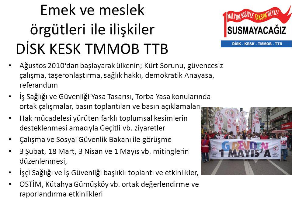 Emek ve meslek örgütleri ile ilişkiler DİSK KESK TMMOB TTB