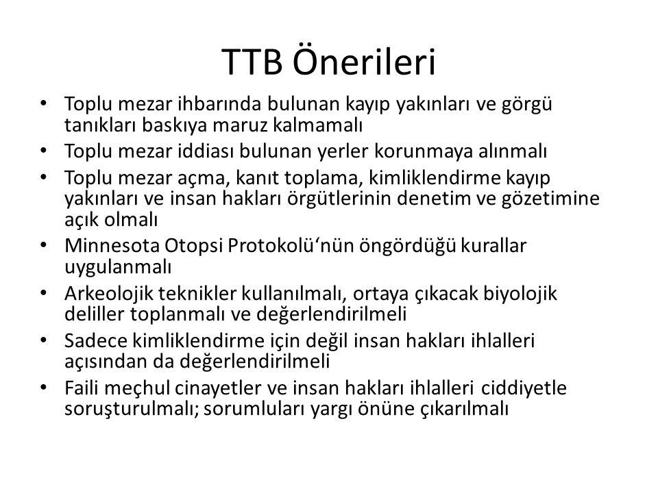 TTB Önerileri Toplu mezar ihbarında bulunan kayıp yakınları ve görgü tanıkları baskıya maruz kalmamalı.