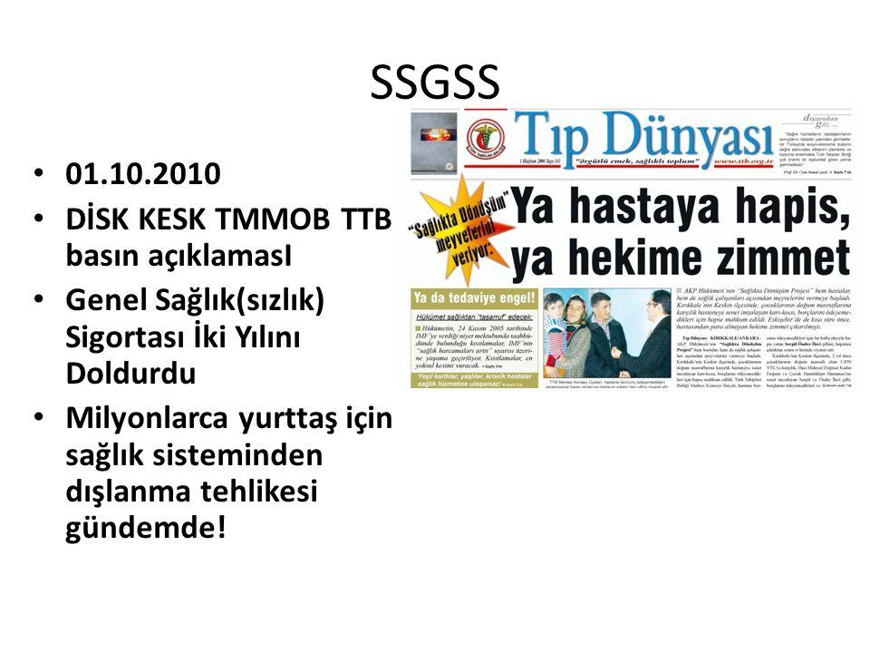 SSGSS 01.10.2010 DİSK KESK TMMOB TTB basın açıklamasI