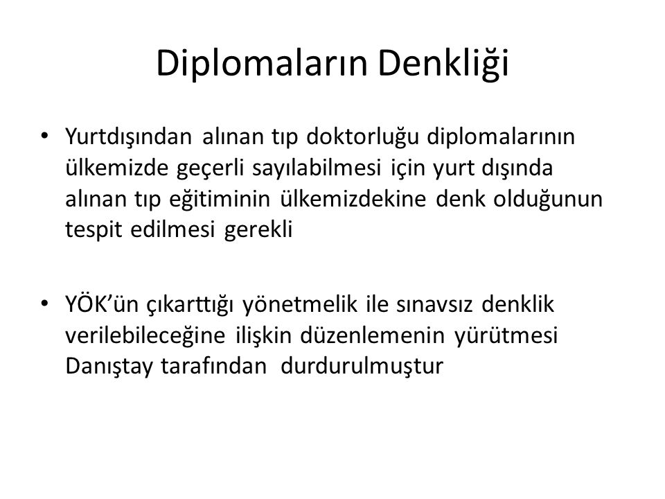 Diplomaların Denkliği