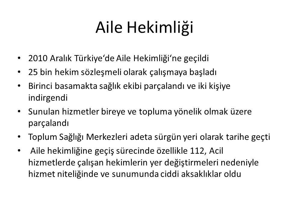 Aile Hekimliği 2010 Aralık Türkiye'de Aile Hekimliği'ne geçildi