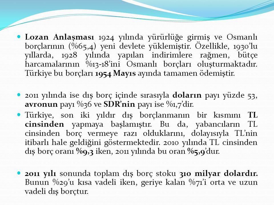 Lozan Anlaşması 1924 yılında yürürlüğe girmiş ve Osmanlı borçlarının (%65,4) yeni devlete yüklemiştir. Özellikle, 1930'lu yıllarda, 1928 yılında yapılan indirimlere rağmen, bütçe harcamalarının %13-18'ini Osmanlı borçları oluşturmaktadır. Türkiye bu borçları 1954 Mayıs ayında tamamen ödemiştir.