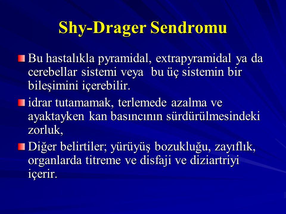 Shy-Drager Sendromu Bu hastalıkla pyramidal, extrapyramidal ya da cerebellar sistemi veya bu üç sistemin bir bileşimini içerebilir.