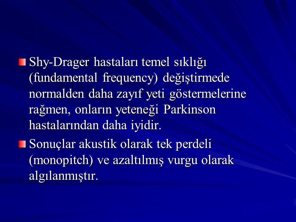 Shy-Drager hastaları temel sıklığı (fundamental frequency) değiştirmede normalden daha zayıf yeti göstermelerine rağmen, onların yeteneği Parkinson hastalarından daha iyidir.