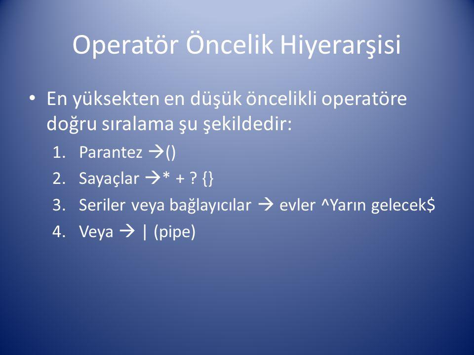 Operatör Öncelik Hiyerarşisi