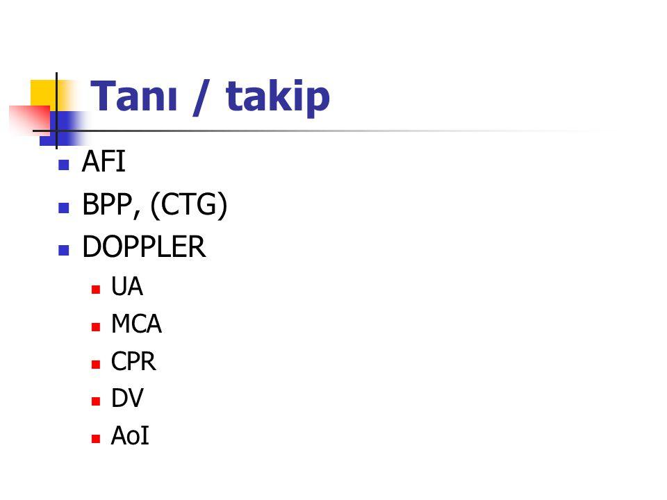 Tanı / takip AFI BPP, (CTG) DOPPLER UA MCA CPR DV AoI