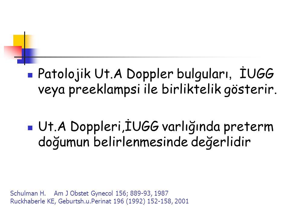 Patolojik Ut.A Doppler bulguları, İUGG veya preeklampsi ile birliktelik gösterir.