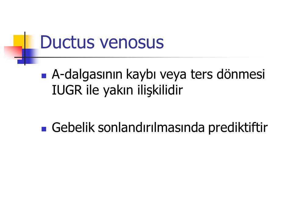 Ductus venosus A-dalgasının kaybı veya ters dönmesi IUGR ile yakın ilişkilidir.