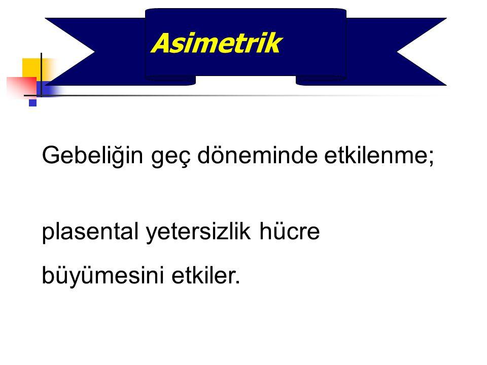 Asimetrik Gebeliğin geç döneminde etkilenme;