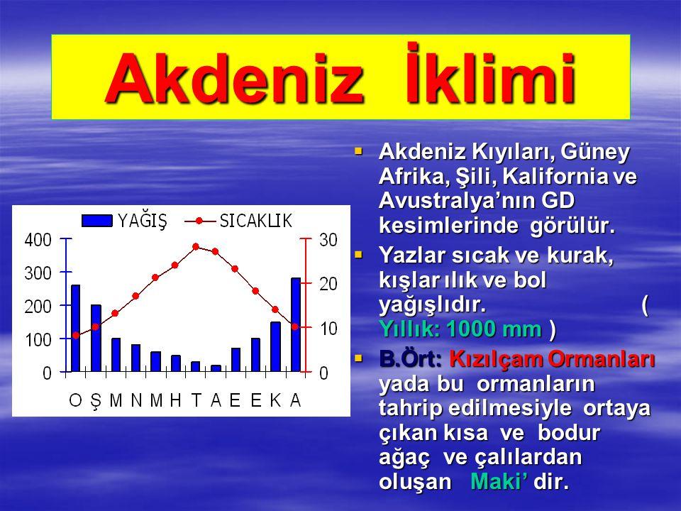 Akdeniz İklimi Akdeniz Kıyıları, Güney Afrika, Şili, Kalifornia ve Avustralya'nın GD kesimlerinde görülür.