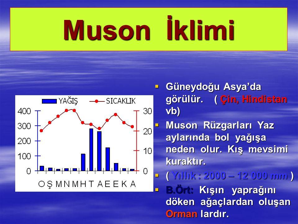 Muson İklimi Güneydoğu Asya'da görülür. ( Çin, Hindistan vb)