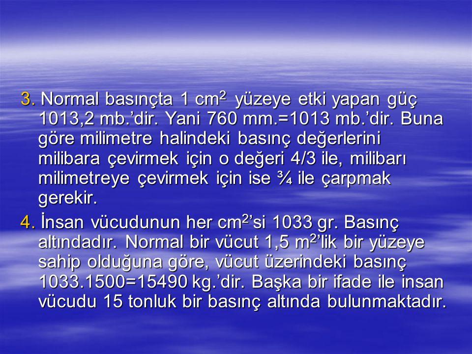 3. Normal basınçta 1 cm2 yüzeye etki yapan güç 1013,2 mb. 'dir