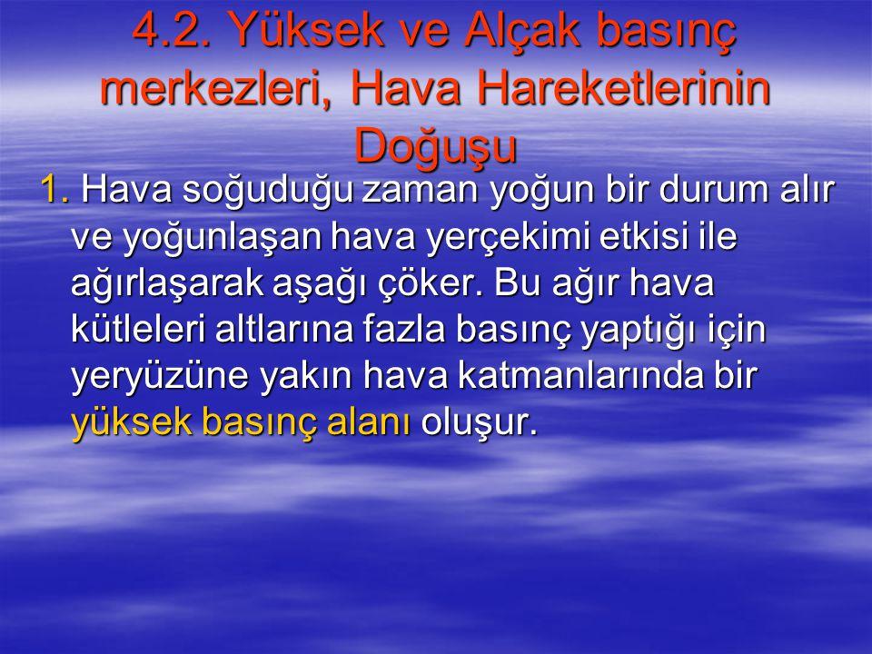 4.2. Yüksek ve Alçak basınç merkezleri, Hava Hareketlerinin Doğuşu
