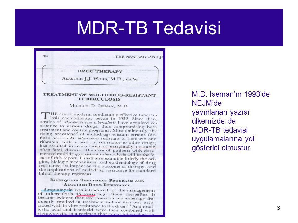 MDR-TB Tedavisi M.D. Iseman'ın 1993'de NEJM'de