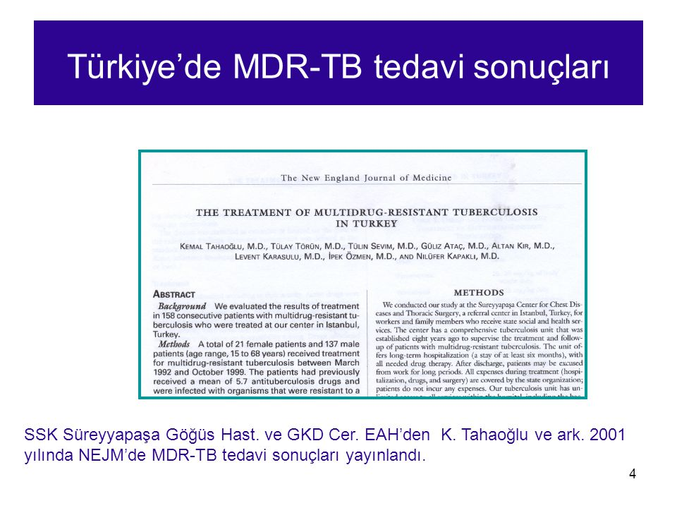 Türkiye'de MDR-TB tedavi sonuçları
