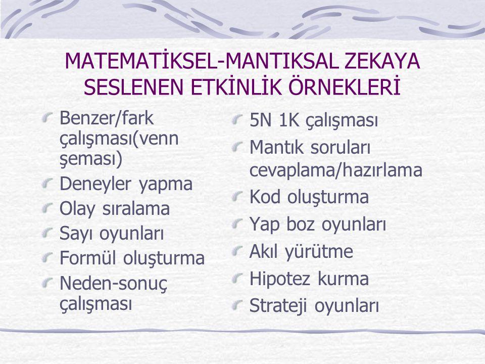 MATEMATİKSEL-MANTIKSAL ZEKAYA SESLENEN ETKİNLİK ÖRNEKLERİ