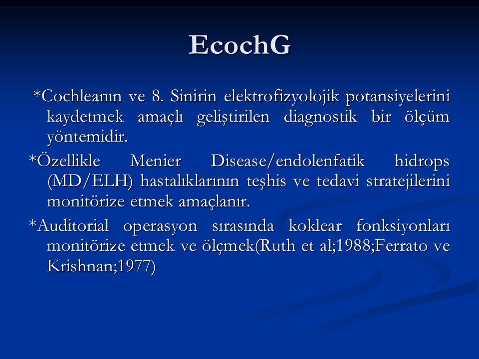 EcochG *Cochleanın ve 8. Sinirin elektrofizyolojik potansiyelerini kaydetmek amaçlı geliştirilen diagnostik bir ölçüm yöntemidir.