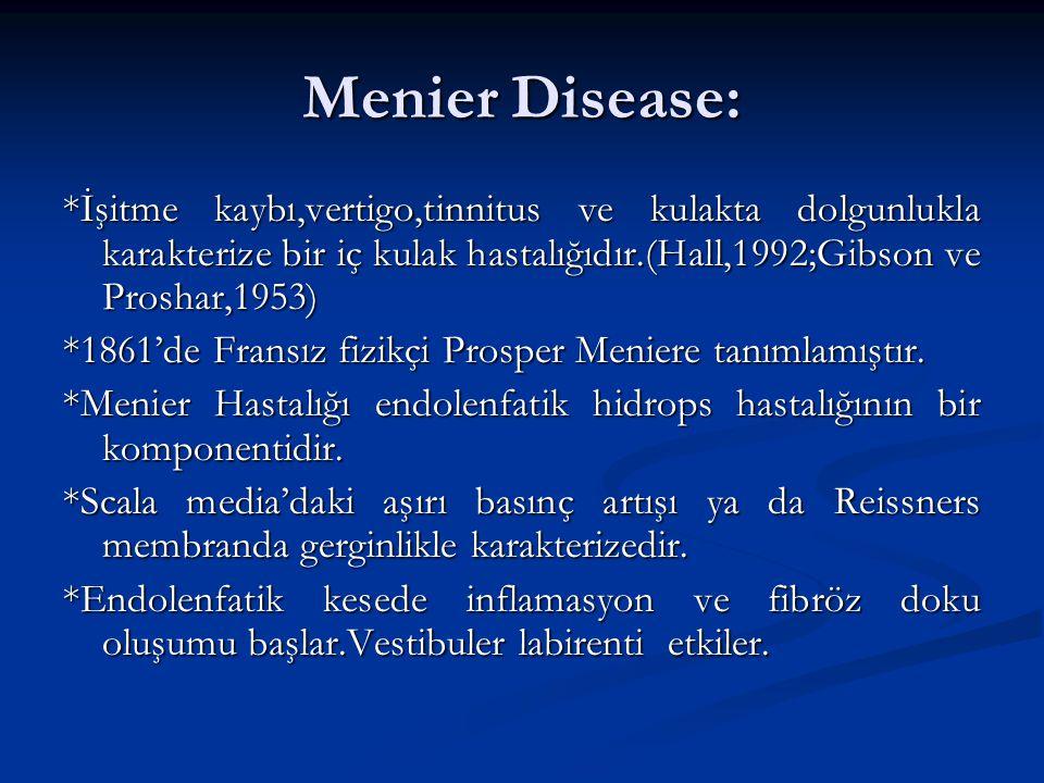 Menier Disease: *İşitme kaybı,vertigo,tinnitus ve kulakta dolgunlukla karakterize bir iç kulak hastalığıdır.(Hall,1992;Gibson ve Proshar,1953)