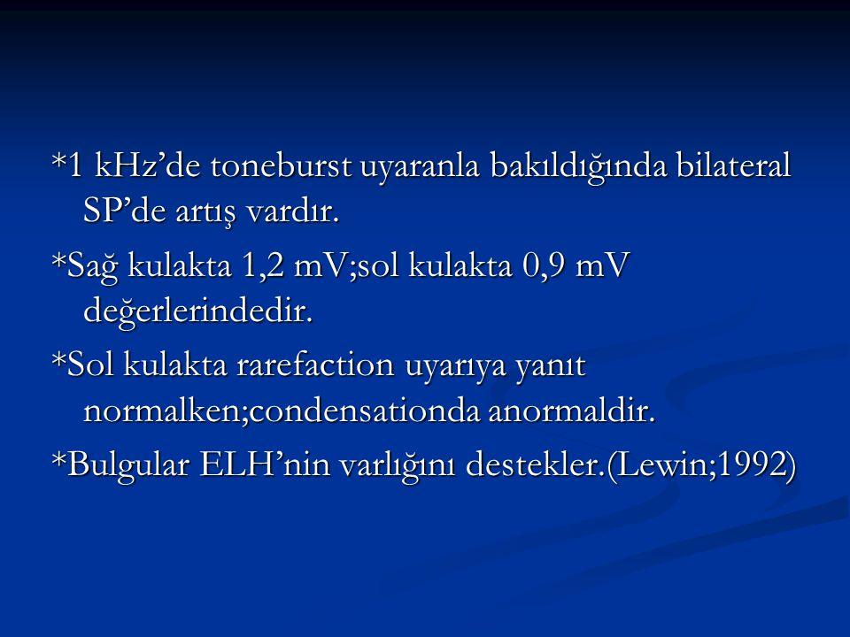*1 kHz'de toneburst uyaranla bakıldığında bilateral SP'de artış vardır.