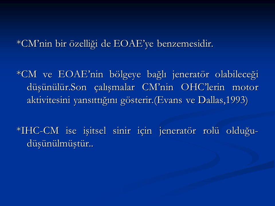 *CM'nin bir özelliği de EOAE'ye benzemesidir.