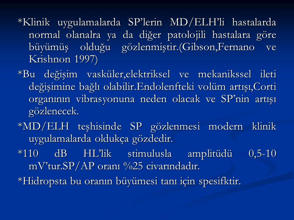 *Klinik uygulamalarda SP'lerin MD/ELH'li hastalarda normal olanalra ya da diğer patolojili hastalara göre büyümüş olduğu gözlenmiştir.(Gibson,Fernano ve Krishnon 1997)