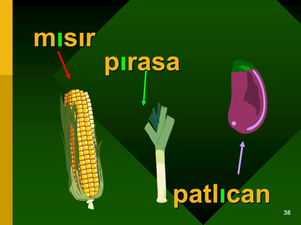 mısır pırasa patlıcan