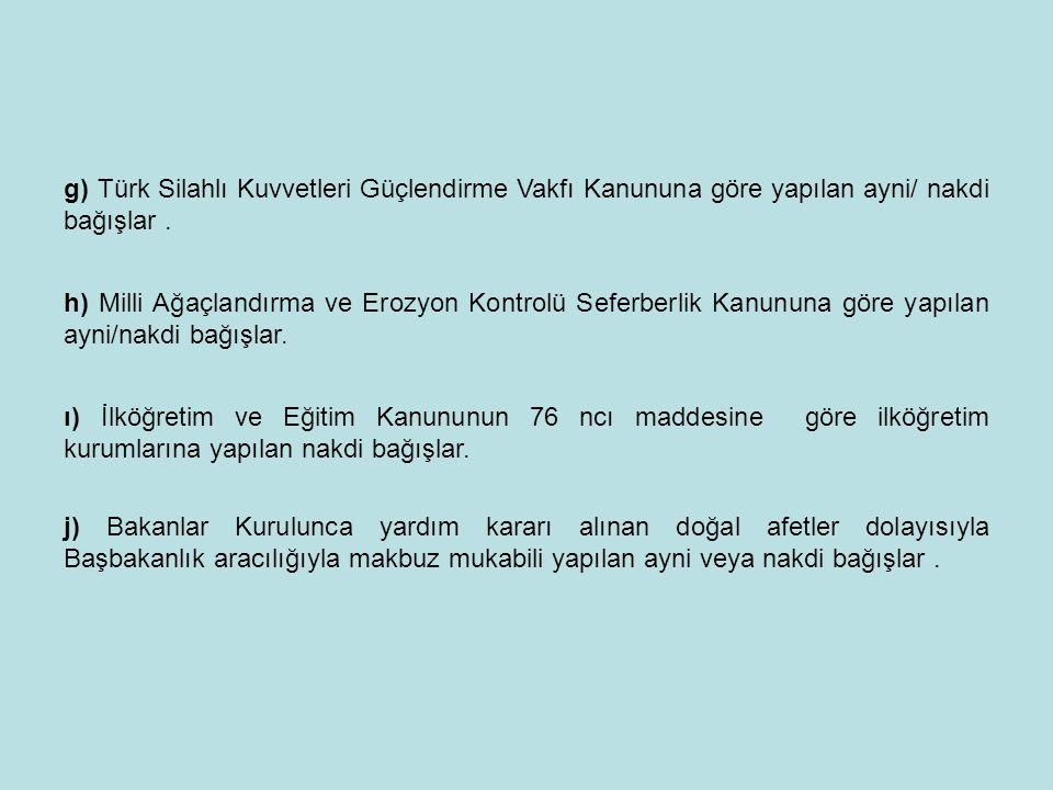 g) Türk Silahlı Kuvvetleri Güçlendirme Vakfı Kanununa göre yapılan ayni/ nakdi bağışlar .